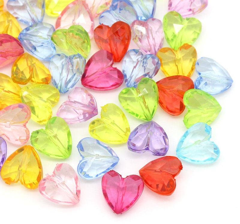 12mm mixed color heart beads - 12mm faceted heart beads - 12mm acrylic beads - 20 pieces (1269)