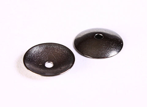 13mm gunmetal rustin beadcaps - 13mm black rustic bead caps - Gunmetal round beadcaps - 20 pieces (1285)