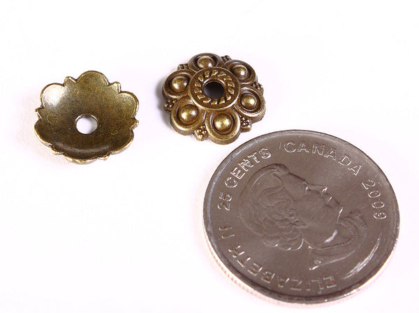 13mm antique brass flower bead caps - 13mm flower beadcaps - Textured beadcap - Cadmium free - 10 pieces (1292)