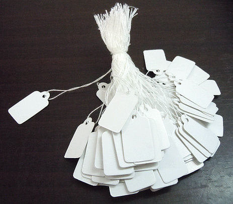 Jewelry price tags - white cotton string tags - blank tags - 23mm x 13mm - 100 pieces (1294A)