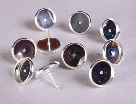 12mm earstud silver findings - Blank Cabochon Setting - Nickel free - Lead free - Cadmium free - 10 pieces (5 pairs)  (1293)