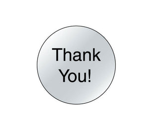 Thank You stickers - 1 inch circle silver and black round labels - 10 pieces (1302)