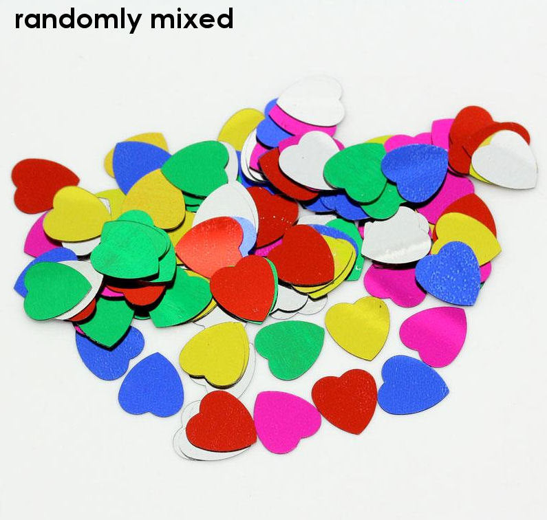 10mm Heart confetti - mixed color sequins - Wedding Favors - 100 pieces (1345)