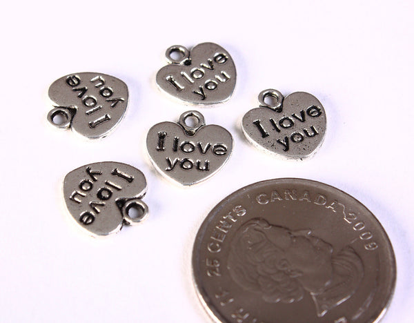 12mm I love your heart charm pendant silver color - Charms 2 sided - 5 pieces (1338)