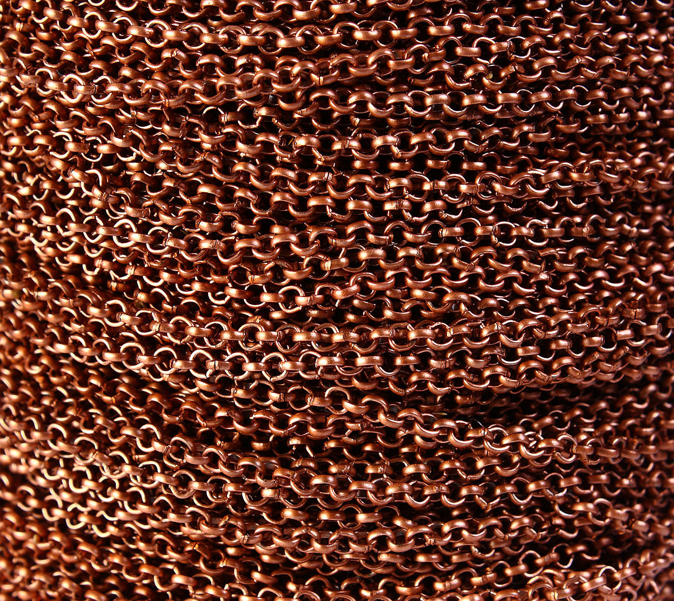 2mm antique copper cross chain - antique copper rolo chain - unsoldered - lead and nickel free - 10 feet (1352)