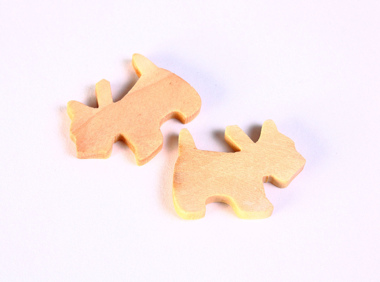 Dog cabochon - Dog woden cabochon - Wood cabochon - 26mm x 20mm - 6 pieces (1354)