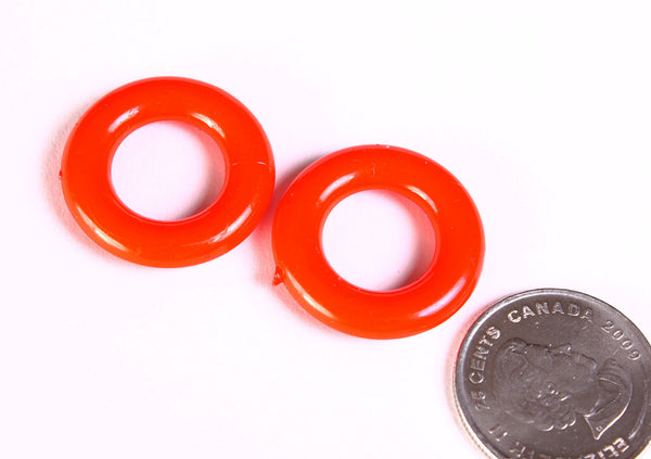 25mm Red ring beads - 25mm red donut beads - 25mm red rondelle beads - 4 pieces (1366)