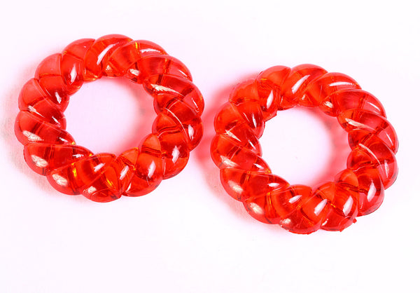 48mm Red ring beads - red donut beads - no hole - 1 piece (1365)