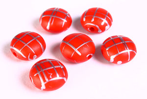 17mm Red silver Drawbench beads - red with silver color strip lentil beads - 6 pieces (1362)
