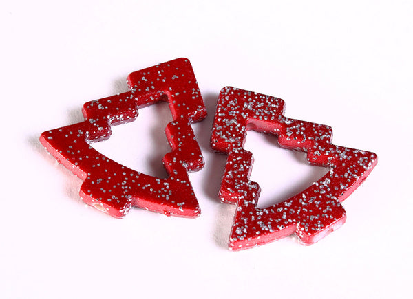 35mm Red with silver glitter powder Christmas tree beads 35mm - 4 pieces (1369)