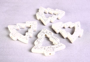 35mm White with silver glitter powder Christmas tree beads - 4 pieces (1368)