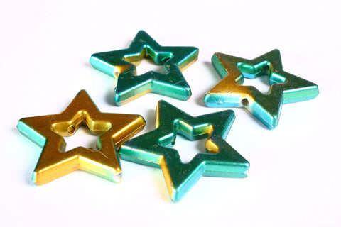 39mm Green and gold large star beads - 4 pieces (1375)2)