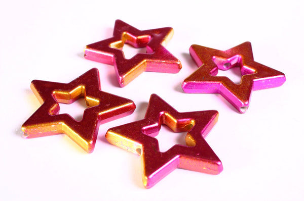 39mm Pink and gold large star beads - 4 pieces (1372)2)