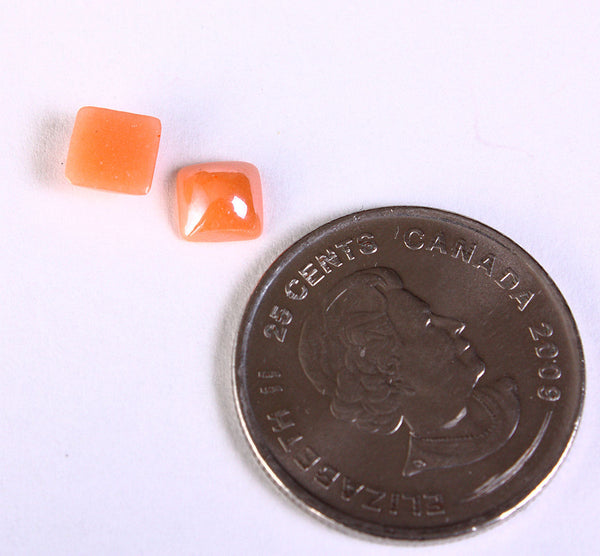 6mm orange plated pearlized finish square glass cabochon - Dome cabochon - Opaque glass cabochon - 10 pieces (1378)