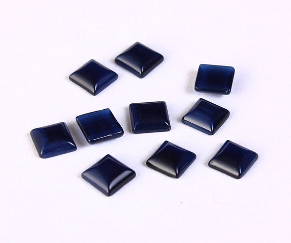 6mm Midnight blue cat eye square glass cabochon - Cat Eye cabochon - Flat pad glass cabochon - 10 pieces (1380)