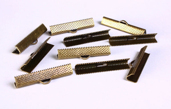 35mm Ribbon ends antique brass - Ribbon End Cap Crimp Beads - Bracelet Ends - Ribbon Crimps - Cadmium free - 10 pieces (1386)