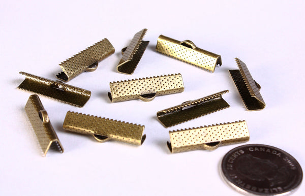 25mm Ribbon ends antique brass - Ribbon End Cap Crimp Beads - Bracelet Ends - Ribbon Crimps - 10 pieces (1387)