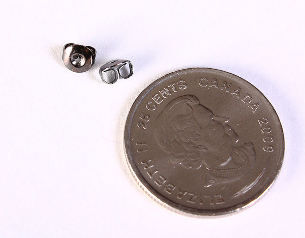 Gunmetal earring back stoppers - Gunmetal earring stoppers - black earnuts - 5mm x 3mm - 50 pieces (1390)