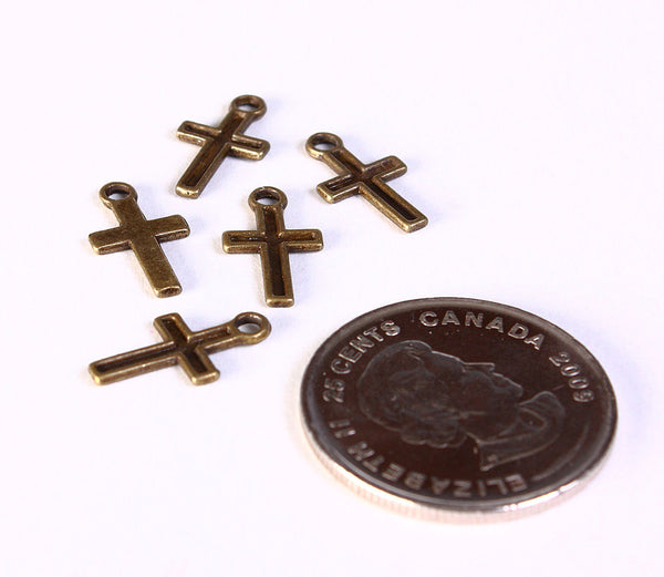 Petite cross charm - Cross pendant - antique brass cross charm - Antique brass cross pendant - 15mm x 8mm - 5 pieces (1399)