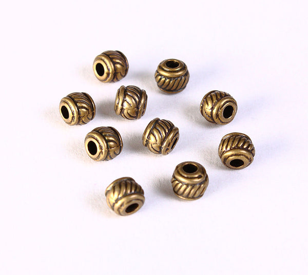 Antique brass striped round beads - spacers beads - antique brass round beads - round beads - 6mm x 5mm - 10 pieces (1393)