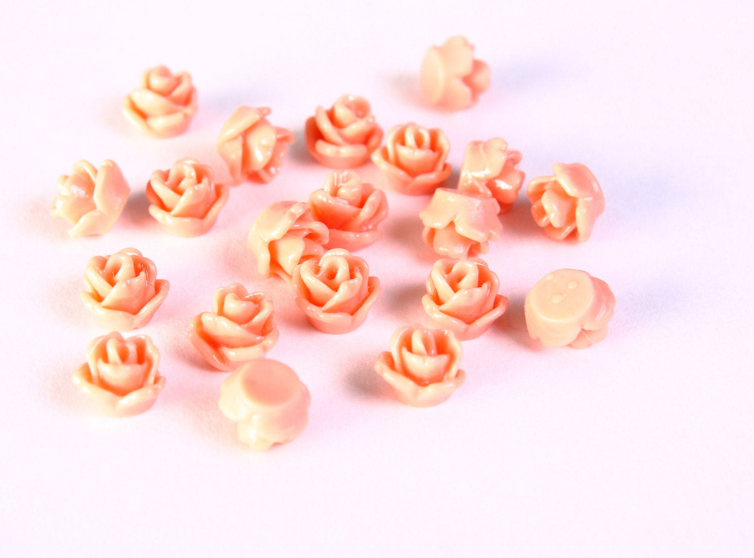 7.5mm salmon flower cabochons - resin tiny small rosebud cabochons - rose flower cabochon - 10 pieces (1412)