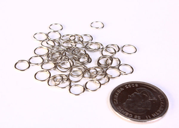 7mm silver tone open jumpring round - nickel free - lead free - 50 pieces (1402)