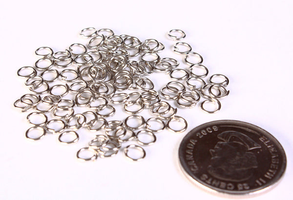 5mm silver tone jumpring - round jump rings - open jump rings - nickel free - lead free - 100 pieces (1403)