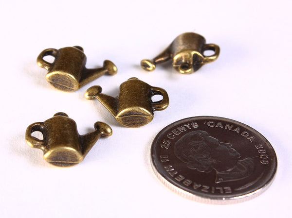 Watering pot charms - Antique brass Watering pot pendant - nickel free lead free - 17mm x 13mm - 4 pieces (1414)