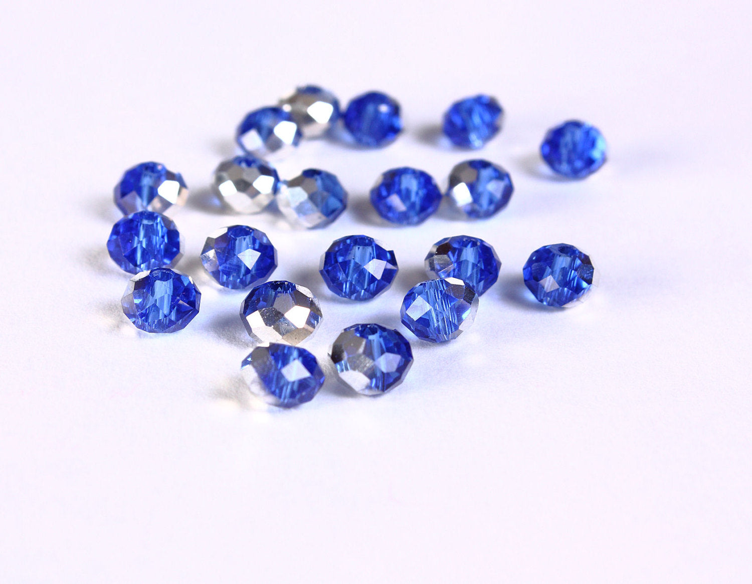 6mm x 4mm blue and mirror silver glass bead - 20 pieces (1415)