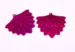 37mm fuchsia hot pink glitter fan pendant 37mm - with DEFECTS - 22 pieces (D003)