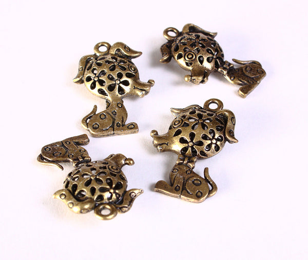 3D Hollow Dog charm pendant antique brass antique bronze color - nickel free lead free - 32mm x 22mm - 2 pieces (1418)