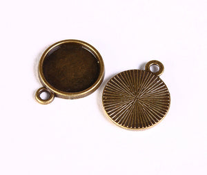 12mm antique brass tray Pendant - 12mm cabochon settings - antique brass findings - nickel free - 10 pieces (1420)