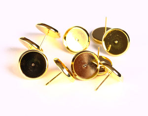 10 pieces (5 pairs) 12mm earstud gold tone findings - nickel free - lead free - cadmium free (1419)