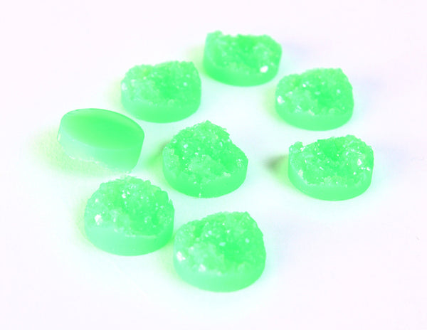 12mm Green round resin cabochon - Faux drusy cabochon - faux druzy cabochons - Textured cabochons - 6 pieces (1350---)