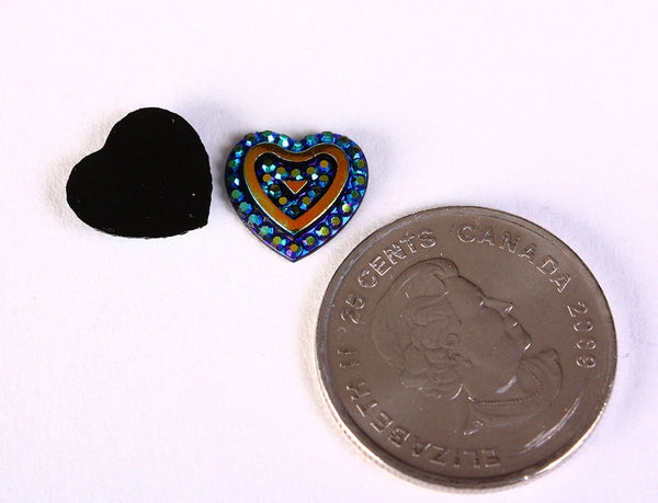 12mm blue heart resin cabochon - AB color cabochon - Resin cabochon - Textured cabochons (1466)