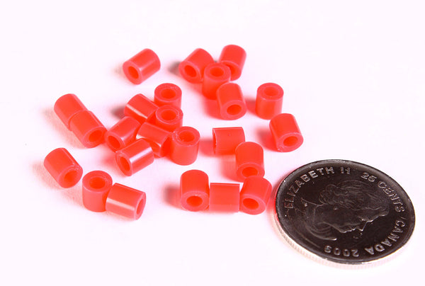 5mm red tube acrylic beads - large hole - Hama beads - Fuse beads - 30 pieces (1472)