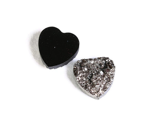 12mm Black silver heart resin cabochon - Faux druzy cabochon - Faux drusy cabochon - Textured cabochons - 6 pieces (1481---)
