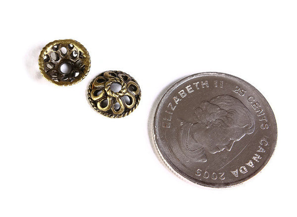 10mm antique brass beadcaps - 10mm flower bead caps - 10mm textured beadcaps - Cadmium free - 6 pieces (1483)