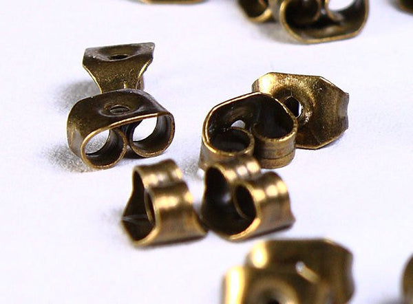 8mm earstud - antique brass findings - 8mm inner tray - nickel free - 10 pieces (5 pairs) (2195)