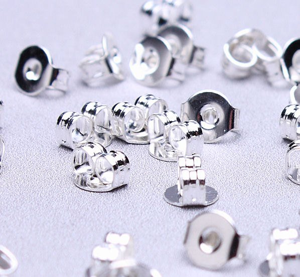 8mm earstud silver findings - Blank 8mm Cabochon Setting - Nickel free - 10 pieces (5 pairs) (2196)