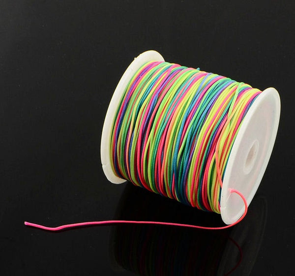 1mm rainbow multicolor nylon cord - chineese Knotting Cord - Macrame thread - Neon colors (1488)