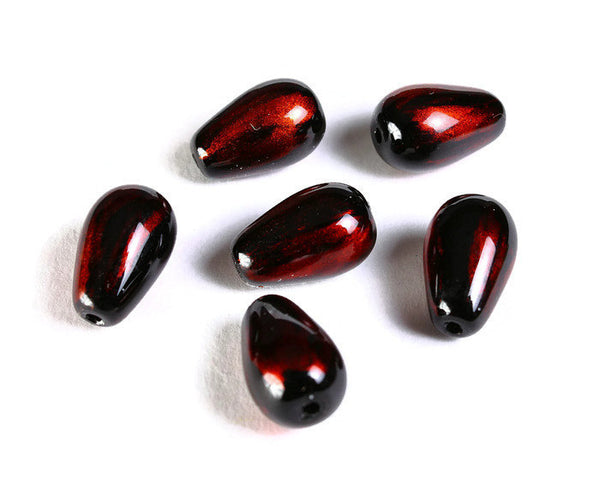 Copper and black teardrop spray painted glass beads - 13mm x 8mm - 6 pieces (1494)