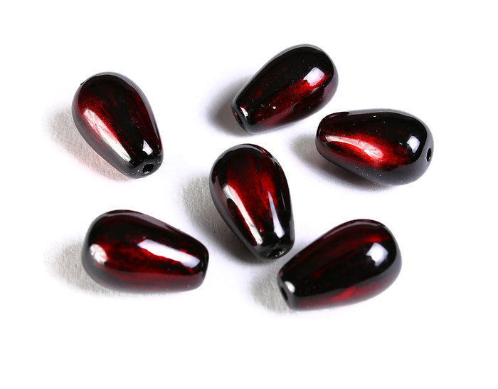 Red and black teardrop spray painted glass beads - 13mm x 8mm - 6 pieces (1491)
