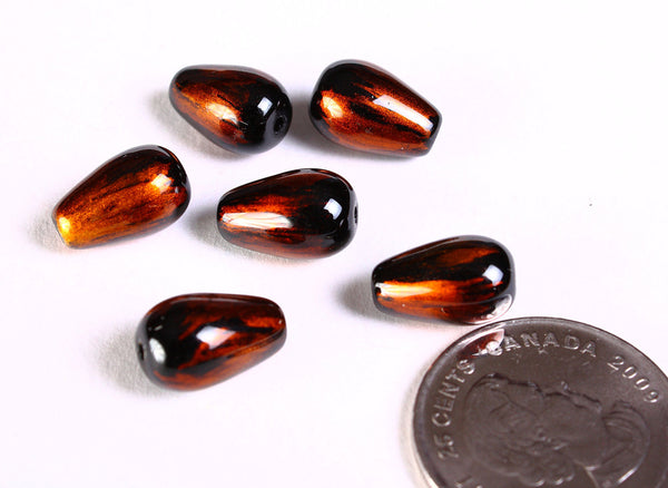 Gold - copper and black teardrop spray painted glass beads - 13mm x 8mm - 6 beads (1492)