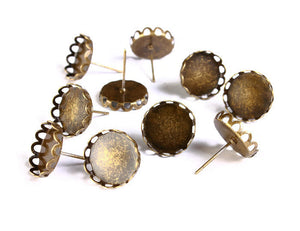 12mm earstud antique brass findings - Lace edge earring - nickel free - 10 pieces (5 pairs) (1495)