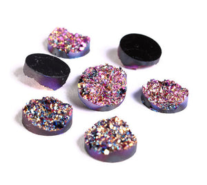 12mm Purple pink gold blue round resin cabochon - Faux druzy cabochon - Faux drusy cabochon Textured cabochons - 6 pieces (1216-1)