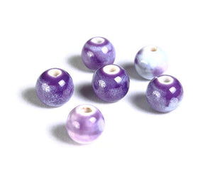 8mm Purple beads - 8mm handmade beads - 8mm antique glazed porcelain beads - 8mm handmade beads - round beads - 6 pieces (1498)