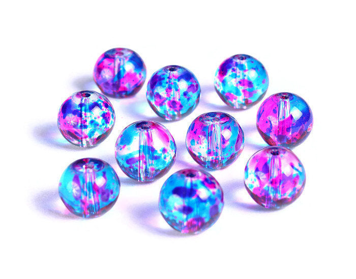 10mm Blue and hot pink spotted round glass beads - Multicolor spot pattern glass beads - 10 pieces (1502*)