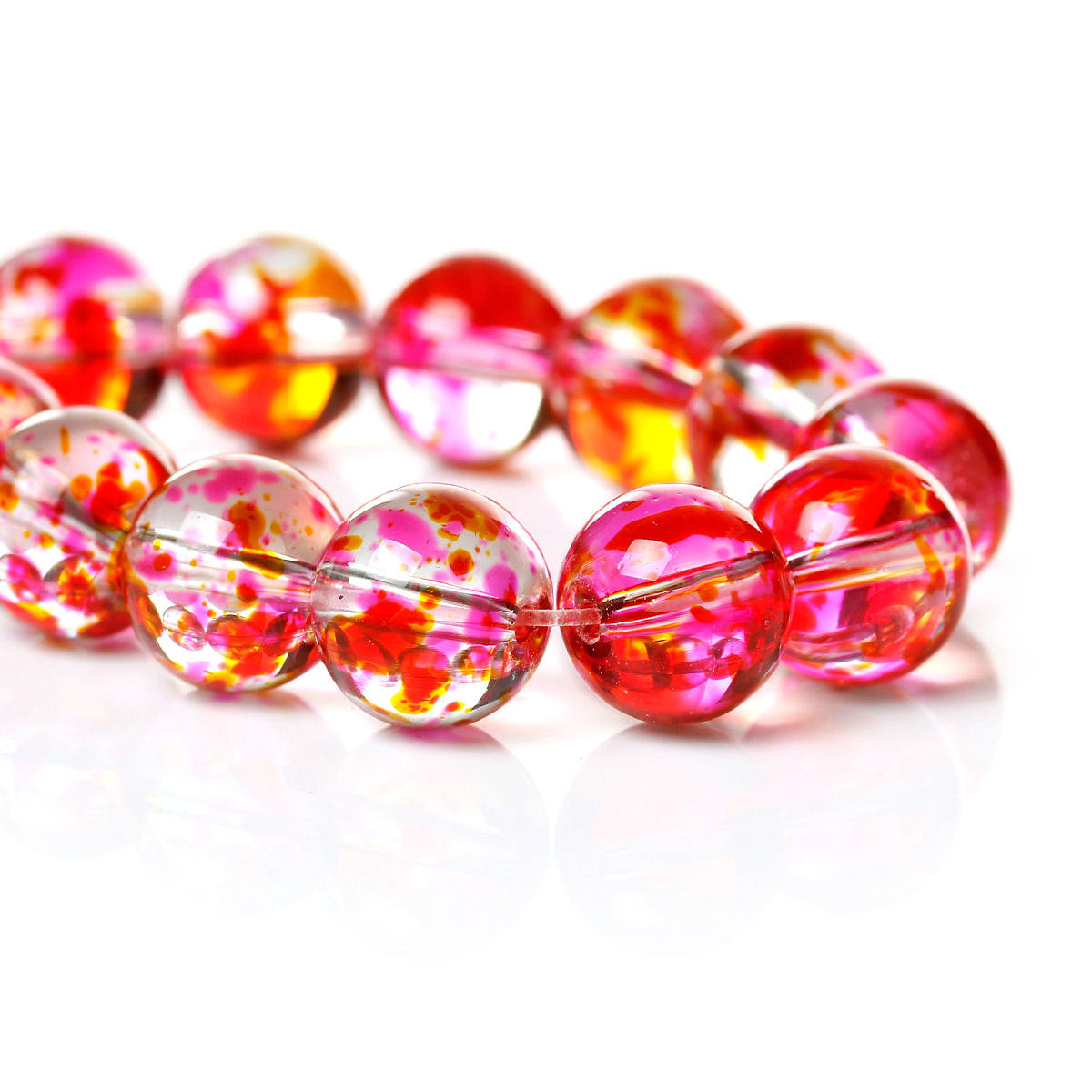10mm Pink orange red spotted round glass beads - Multicolor spot pattern glass beads - 10mm beads - Glass beads - 10 pieces (1503)