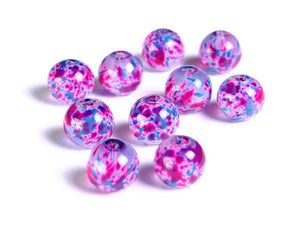 10mm Blue purple pink spotted round glass beads - Multicolor spot pattern glass beads - 10 pieces (1504)